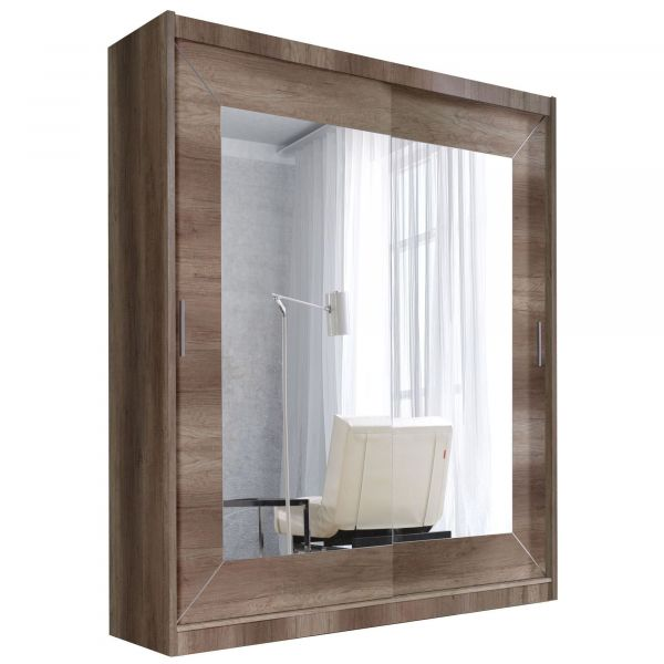 ARMOIRE 180 COULISSANTE MIROIR COUNTRY
