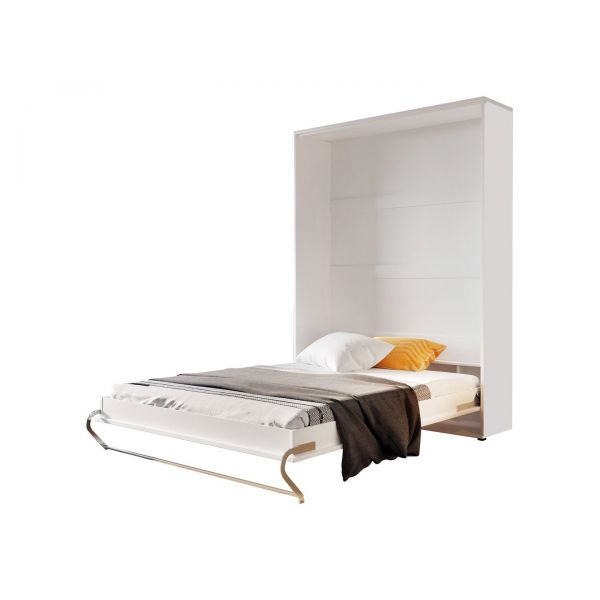PACK VISCO LIT ESCAMOTABLE VERTICAL 140 X 200 BLANC + MATELAS